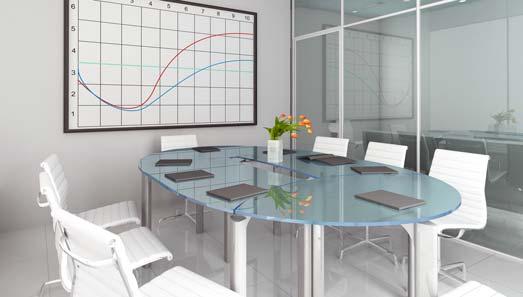 Konferensbord med bordsskiva i glas